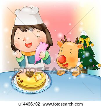 Clip Art of Girl Decorating a Christmas Cake u14436732 ...
