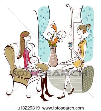 Arquivos de Ilustrações - dois, mulheres,  sentando, vivendo,  sala. fotosearch  - busca de imagens  de vetor grã¡fico,  desenhos, clip  art, ilustraã§ãµes