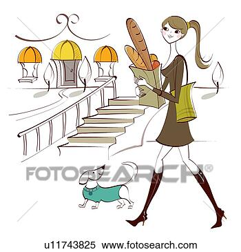 Stock illustration of side profile of a woman carrying shopping bags