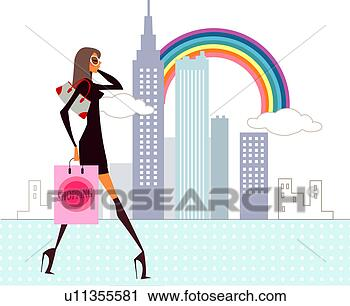 Of a woman walking and carrying a shopping bag view large illustration