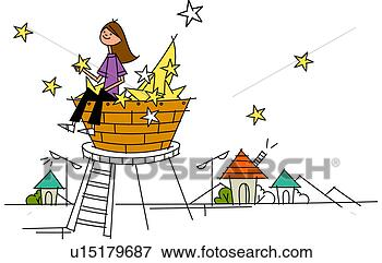 Stock Illustration - woman sitting on a basket and holding a star. fotosearch - search clipart, illustration posters, drawings and vector eps graphics images
