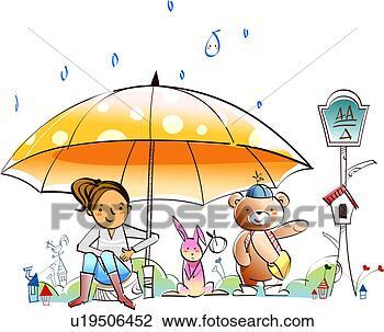 Clip Art - femme, lapin, ours, parapluie, pluie. fotosearch - recherchez des cliparts, des illustrations, des dessins et des images vectorisées au format eps