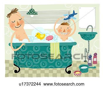 Disegni padre bambino ragazzo presa bagno in - Riduttore vasca bagno bambino ...