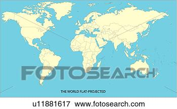 Map, world, continents, countries, equatorial line, World Map 2, sea