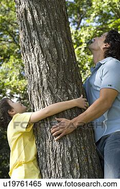 Stock Image - man and boy hold  trunk of tree,  looking upward,  winipeg, canada.  fotosearch - search  stock photos,  pictures, images,  and photo clipart