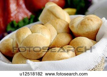 Stock Photo of Homemade rolls with turkey dinner table ...