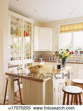 Stock Image Of Contemporary White Painted Wooden Kitchen