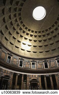 Interior dome in Pantheon, Rome, Italy. View Large Photo Image