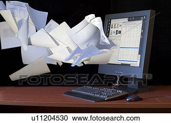 Arquivo de Fotografias - documentos, voando,  computador, apartamento,  tela, monitor.  fotosearch - busca  de fotos, imagens  e clipart