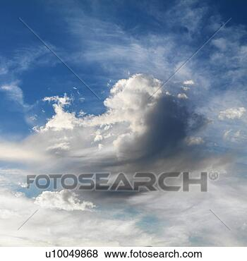 Picture - Wispy cloud formations against clear blue sky.. Fotosearch - Search Stock Photos, Images, Print Photographs, and Photo Clip Art