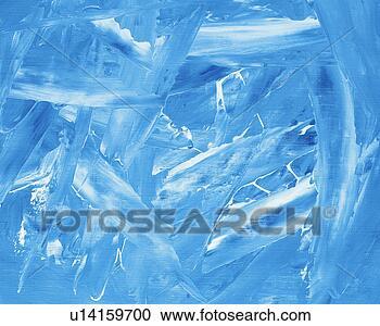 Stock fotografie olieverfschilderij in ontsteken blauw en witte kleuren vooraanzicht - Grafiek blauw grijze verf ...