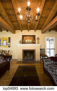 Stock Photo Of Cozy Rustic Living Room With Vaulted Wood