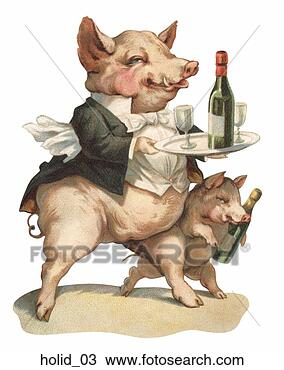 Drawing of Victorian New Year Illustration: a Pig Dressed ...