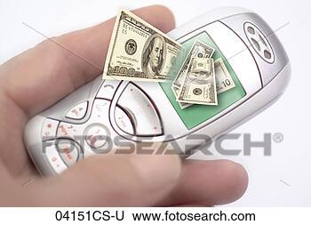 Banco de Imagem - móvel, telefone,  exibindo, telefone,  operação bancária,  close-up. fotosearch  - busca de fotos,  imagens e clipart