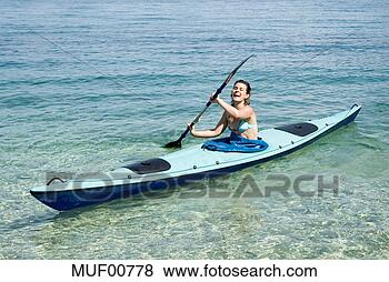 Banco de Imagem - grécia, ithaca,  mulher, kayaking.  fotosearch - busca  de fotos, imagens  e clipart
