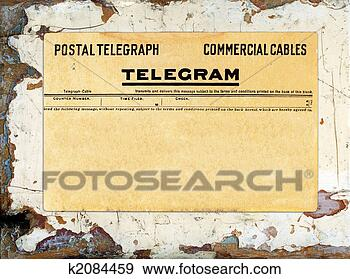 Stock Photograph - telegram on grungy  painted wood.  fotosearch - search  stock photos,  pictures, wall  murals, images,  and photo clipart