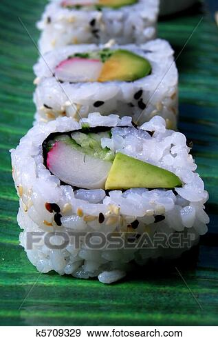 Stock Photograph - sushi (california  roll). fotosearch  - search stock  photos, pictures,  wall murals, images,  and photo clipart