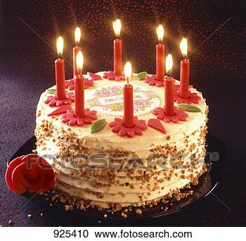 Stock Photography - birthday cake with burning candles. fotosearch - search stock photos, pictures, wall murals, images, and photo clipart