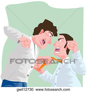 Stock Photography - side profile of two businessmen fighting. fotosearch - search stock photos, pictures, wall murals, images, and photo clipart