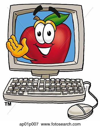 Clip Art - apple in computer.  fotosearch - search  clipart, illustration  posters, drawings  and vector eps  graphics images