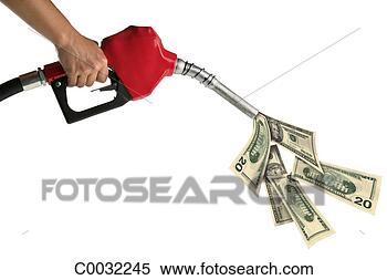 Stock Image - a woman's hand  holds a red gas  pump pouring out  american dollar  bills. fotosearch  - search stock  photos, pictures,  wall murals, images,  and photo clipart