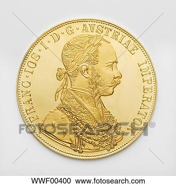Stock Photography - austrian ducat,  gold coin, close  up. fotosearch  - search stock  photos, pictures,  wall murals, images,  and photo clipart