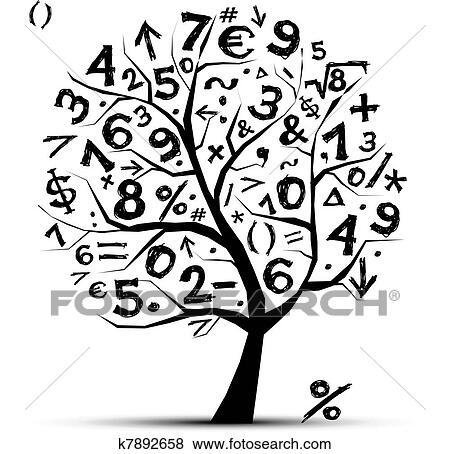 图解或插画或图例 - 艺术, 树, 数学, 符号, 设计图片