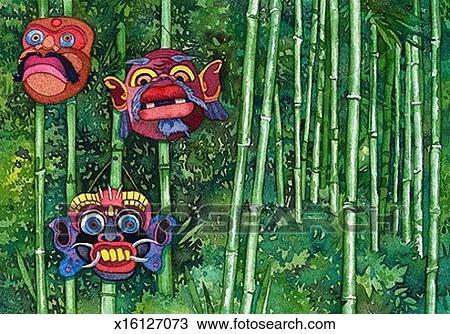 手绘图 - 伪装, 竹子,