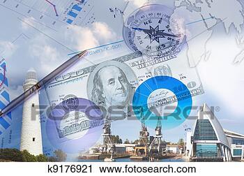 手绘图 手绘图像 电脑合成图像 卡通漫画 金融, 图表, 灯塔,
