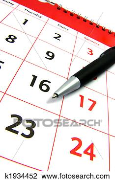 Stock Photo - calendar with  a pen. fotosearch  - search stock  photos, pictures,  images, and photo  clipart