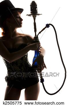 Stock Image - woman with hookah.  fotosearch - search  stock photos,  pictures, images,  and photo clipart
