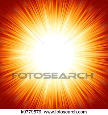 Stock Illustration - Centered red orange summer sun light burst. EPS 8. Fotosearch - Search Vector Clipart, Drawings, Print Murals, Illustrations, and EPS Graphics Images