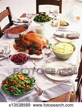 Stock Photograph - traditional thanksgiving  dinner. fotosearch  - search stock  photos, pictures,  wall murals, images,  and photo clipart