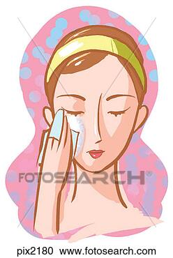 Stock Illustration - a woman washing  her face. fotosearch  - search clipart,  illustration posters,  drawings and vector  eps graphics images