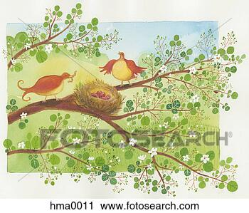 Clipart - two birds sitting  in a tree with  a nest. fotosearch  - search clipart,  illustration posters,  drawings and vector  eps graphics images