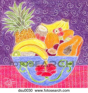 Stock Illustration - basket of fruit.  fotosearch - search  clipart, illustration  posters, drawings  and vector eps  graphics images