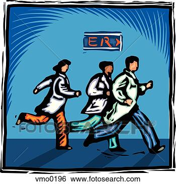 Stock Illustration of Doctors running towards an emergency ...