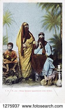 Picture - 'egyptian women  and child', vintage  french postcard.  fotosearch - search  stock photos,  pictures, images,  and photo clipart