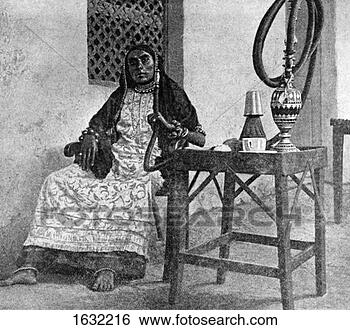 Stock Photo - somali woman smoking  a hookah, aden,  1922. fotosearch  - search stock  photos, pictures,  images, and photo  clipart