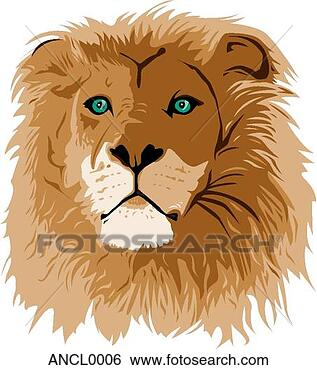 Clip Art - lion face. fotosearch  - search clipart,  illustration,  drawings and vector  eps graphics images