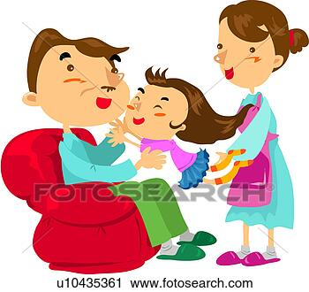 Clipart - sofa, mother,  house, weekend,  holiday, father.  fotosearch - search  clipart, illustration,  drawings and vector  eps graphics images