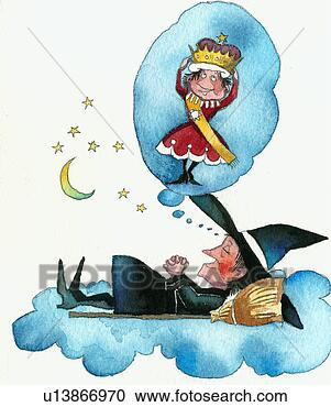 Stock Illustration - witch dreaming  she is the queen.  fotosearch - search  clipart, illustration,  drawings and vector  eps graphics images