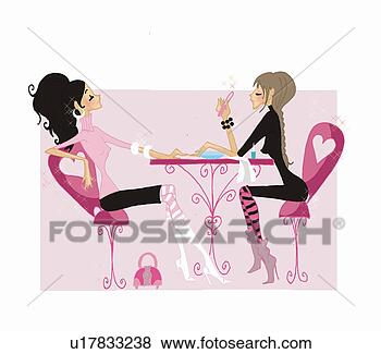 Woman getting nails done in nail salon u17833238 - Search EPS Clip Art